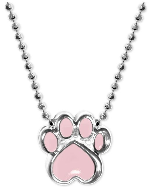 """Alex Woo - Metallic Pink Enamel Activist Paw Print 16"""" Pendant Necklace In Sterling Silver - Lyst"""