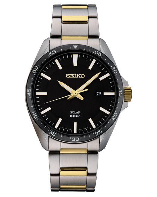 Seiko Metallic Men's Solar Essentials Two-tone Stainless Steel Bracelet Watch 43mm for men