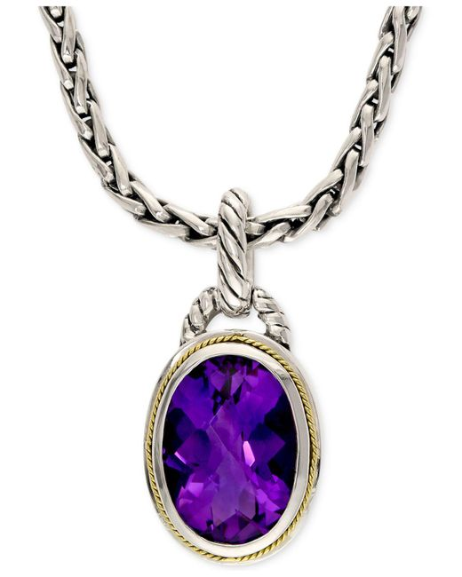 Effy Collection - Metallic Amethyst Pendant Necklace In 18k Gold And Sterling Silver (5-3/4 Ct. T.w.) - Lyst