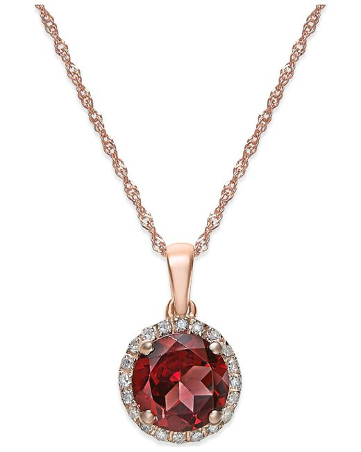 Macy's | Metallic Garnet (1-1/2 Ct. T.w.) And Diamond Accent Pendant Necklace In 14k Gold | Lyst