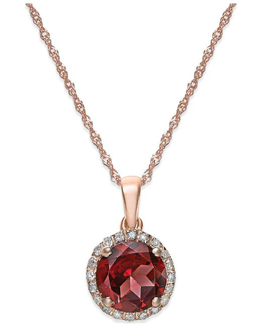 Macy's - Multicolor Garnet (1-1/2 Ct. T.w.) And Diamond Accent Pendant Necklace In 14k Rose Gold - Lyst