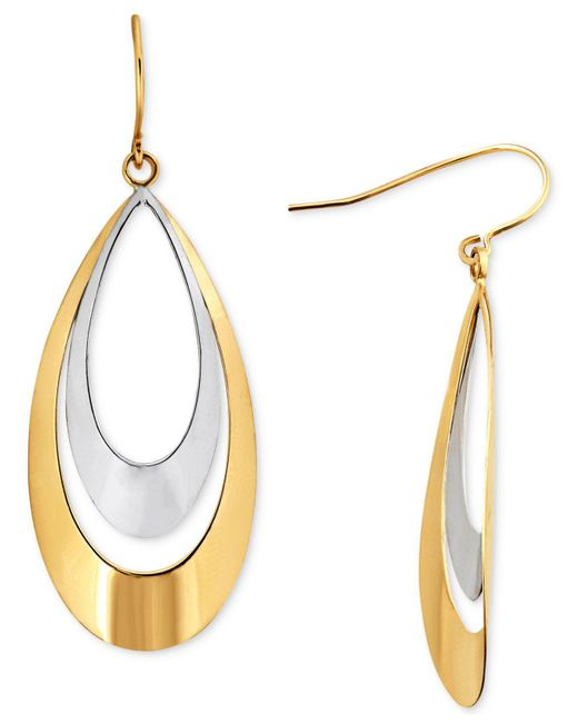 Macy's - Metallic Two-tone Double Teardrop Drop Earrings In 10k Gold - Lyst