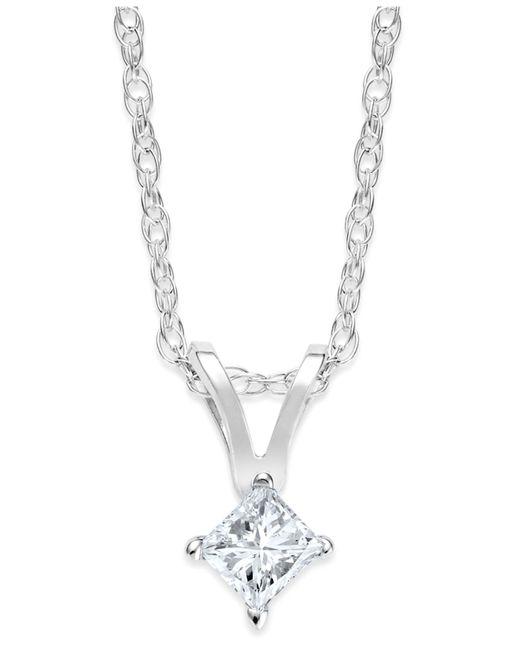 Macy's | Metallic Princess-cut Diamond Pendant Necklace In 10k Gold (1/10 Ct. T.w.) | Lyst