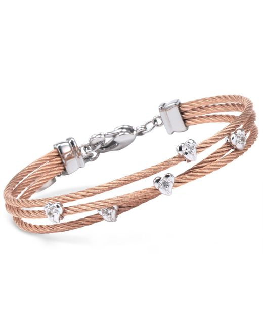 Charriol   Multicolor Women's Malia White Topaz-accent Two-tone Pvd Stainless Steel Cable Bangle Bracelet   Lyst