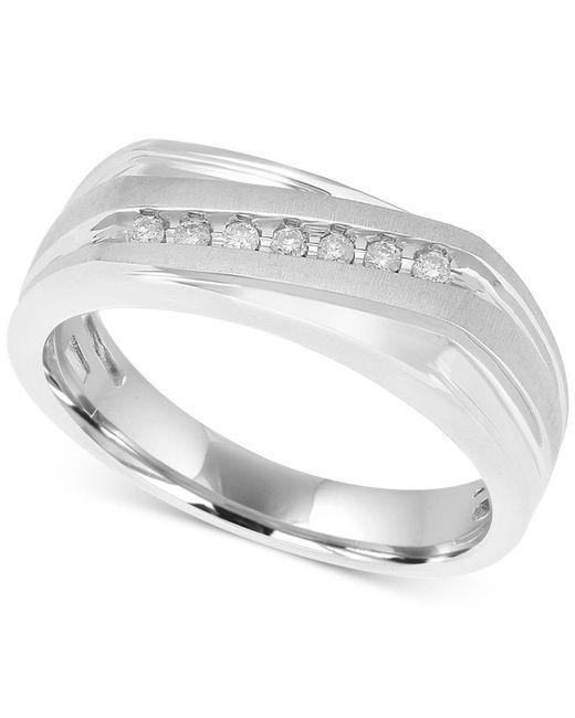 Macy's - Metallic Men's Diamond Diagonal Ring (1/10 Ct. T.w.) In 10k White Gold - Lyst