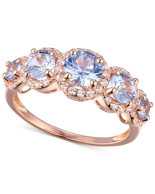 Macy's - Metallic Cubic Zirconia Simulated Aquamarine Stone Ring In 14k Rose Gold-plated Sterling Silver - Lyst