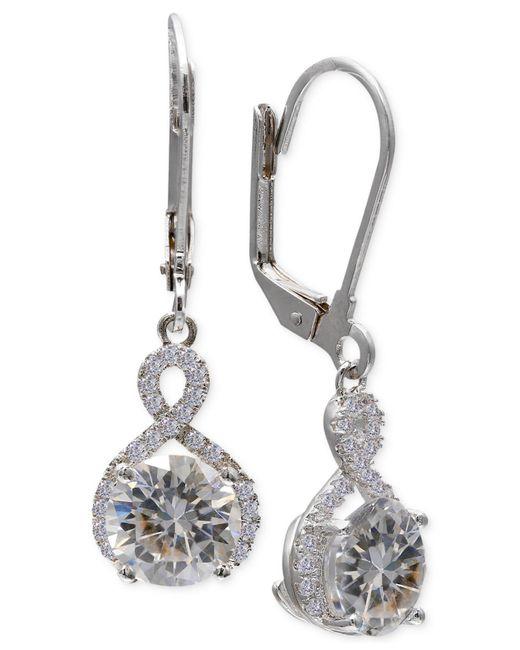 Macy's - Multicolor Cubic Zirconia Infinity Leverback Earrings In Sterling Silver - Lyst