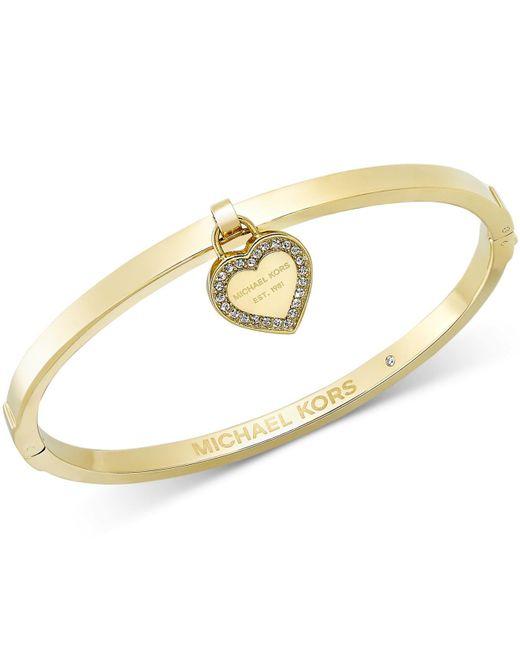 Michael Kors | Metallic Gold-tone Bangle With Mk Charm | Lyst