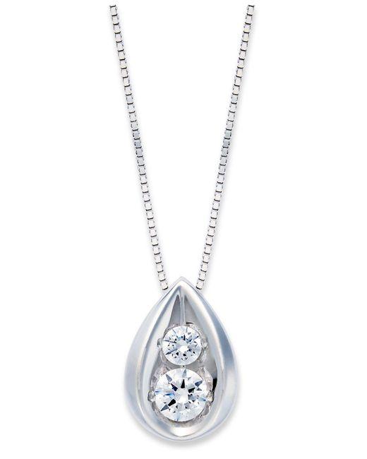 Macy's - White Diamond Teardrop Pendant Necklace In 14k Gold (1/4 Ct. T.w.) - Lyst