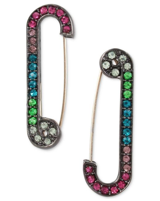 Betsey Johnson | Multicolor Hematite-tone Rainbow Pavé Safety Pin Drop Earrings | Lyst