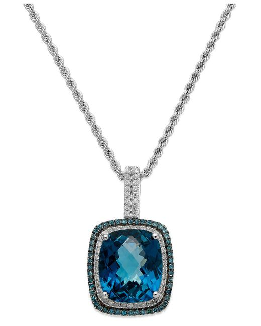 Macy's - 14k White Gold London Blue Topaz (13-1/2 Ct. T.w.) And Blue And White Diamond (1/2 Ct. T.w.) Necklace - Lyst