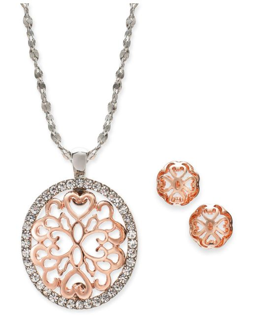 "Charter Club - Multicolor Two-tone Pavé Filigree Oval Pendant Necklace & Stud Earrings, 17"" + 2"" Extender, Created For Macy's - Lyst"