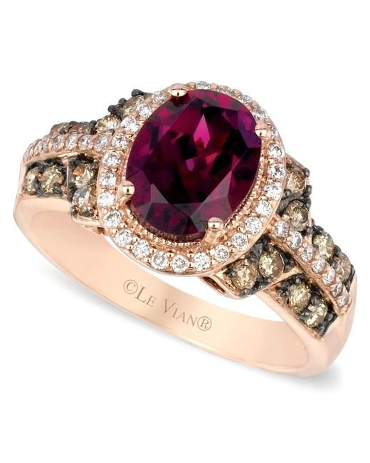Le Vian | Red Raspberry Rhodolite Chocolate And White Diamond Oval Ring (2-3/4 Ct. T.w.) In 14k Rose Gold | Lyst