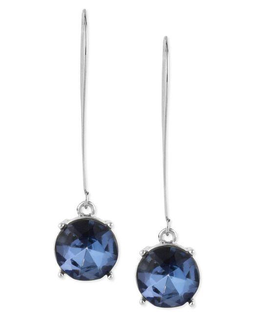 Kenneth Cole | Earrings, Silver-tone Blue Faceted Bead Drop Earrings | Lyst