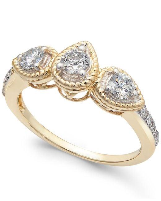 Macy's - Metallic Diamond Rope-framed Engagement Ring (5/8 Ct. T.w.) - Lyst