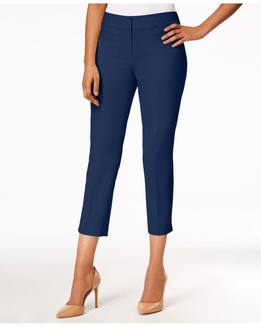Nine West - Blue Cropped Skinny Pants - Lyst