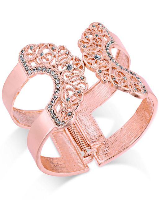 INC International Concepts   Pink Pavé Lace Hinged Cuff Bracelet   Lyst