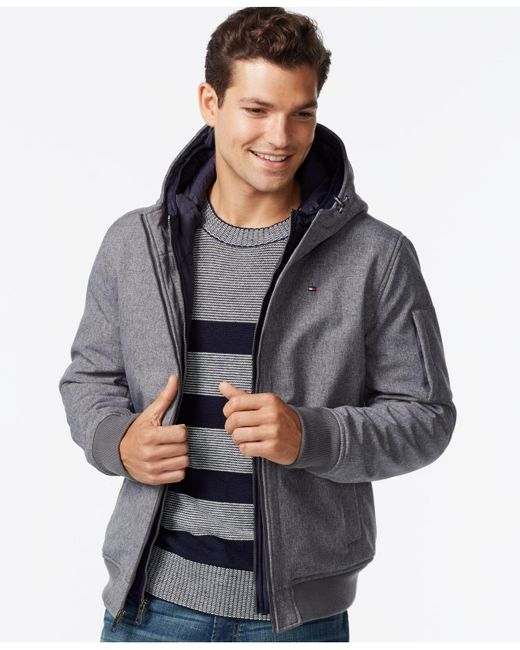 Tommy Hilfiger   Gray Soft-shell Bomber Hoodie Jacket for Men   Lyst