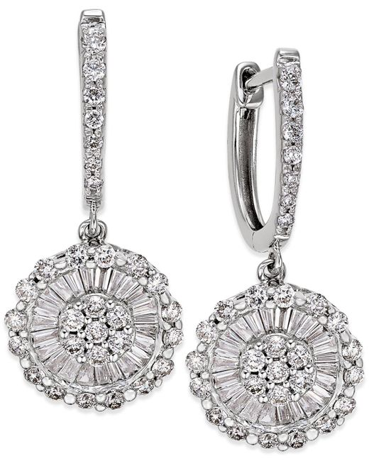 Macy's - Multicolor Diamond Daisy Earrings (1-1/4 Ct. T.w.) In 14k White Gold - Lyst