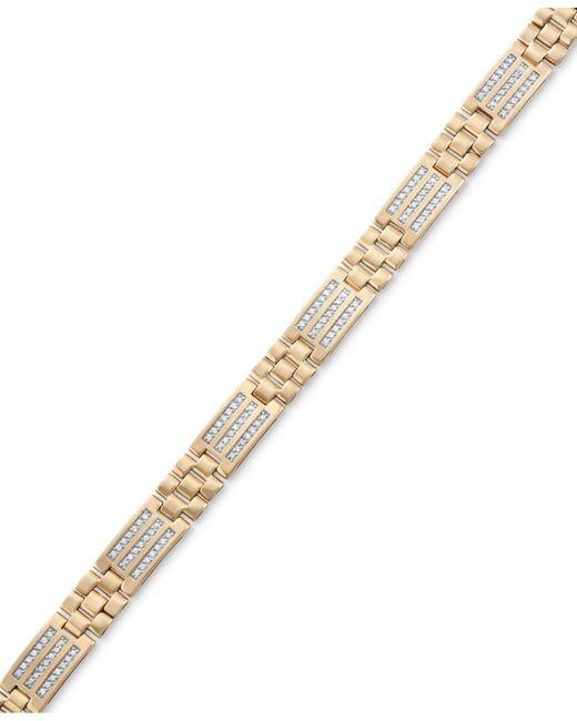 Macy's - Metallic Men's Diamond Channel Set Bracelet (3/4 Ct. T.w.) In 10k Gold for Men - Lyst
