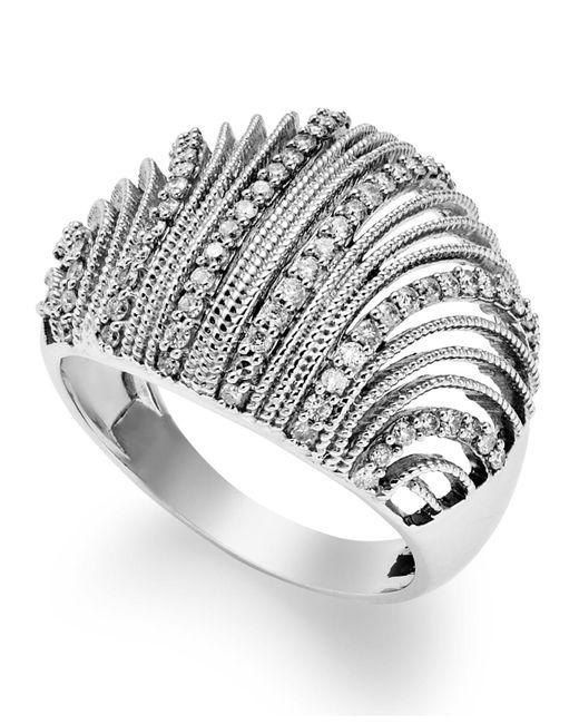 Macy's - Metallic Diamond Shell Ring In Sterling Silver (1/2 Ct. T.w.) - Lyst