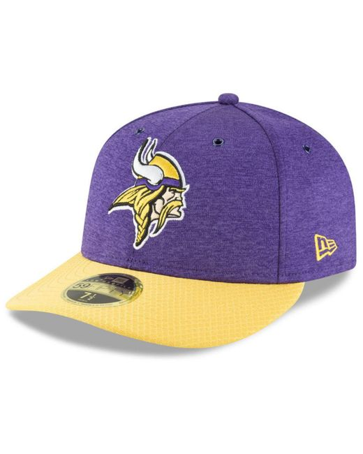 low priced 377d3 b9841 KTZ - Purple Minnesota Vikings On Field Low Profile Sideline Home 59fifty  Fitted Cap for Men ...