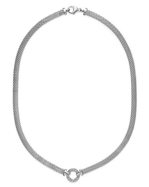 Macy's - Metallic Diamond Mesh Circle Necklace (1/8 Ct. T.w.) In Sterling Silver - Lyst
