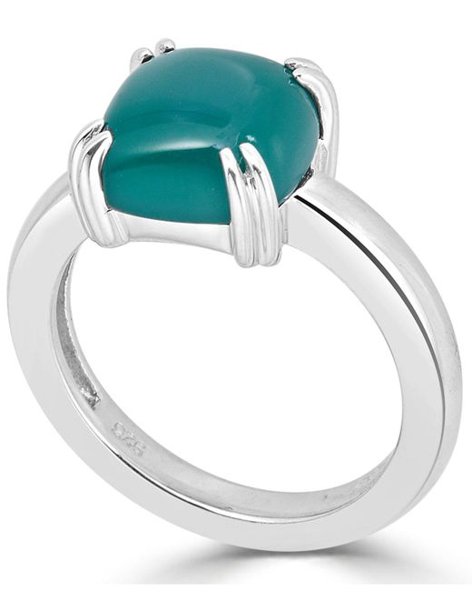 Macy's - Metallic Green Agate Curved Claw Ring In Sterling Silver - Lyst