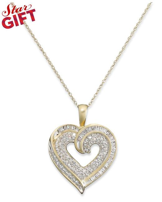 Macy's   Metallic Diamond Baguette Heart Necklace In 10k Gold Or White Gold (3/8 Ct. T.w.)   Lyst