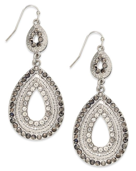 INC International Concepts | Metallic Silver-tone Pave Double Drop Earrings | Lyst
