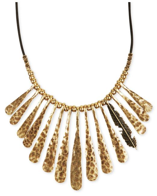 Lucky Brand | Metallic Necklace, Gold-tone Fan Feather Leather Cord Necklace | Lyst