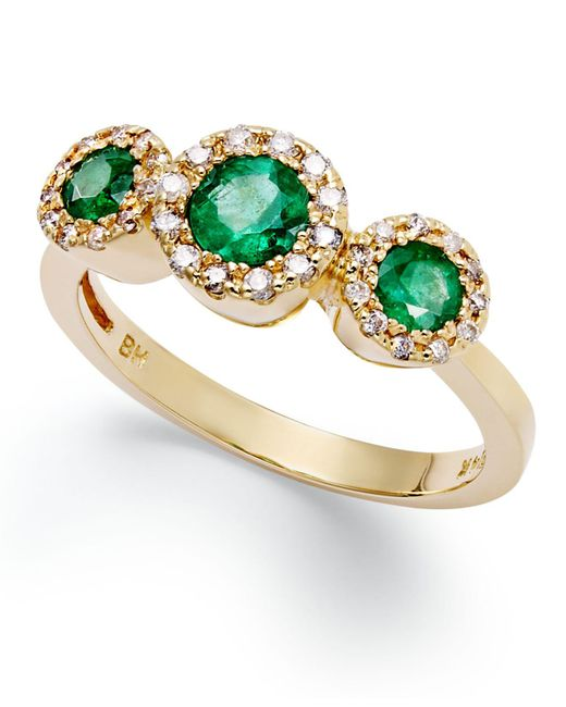 Effy Collection - Metallic Emerald (5/8 Ct. T.w.) And Diamond (1/6 Ct. T.w.) Three-stone Ring In 14k Gold - Lyst