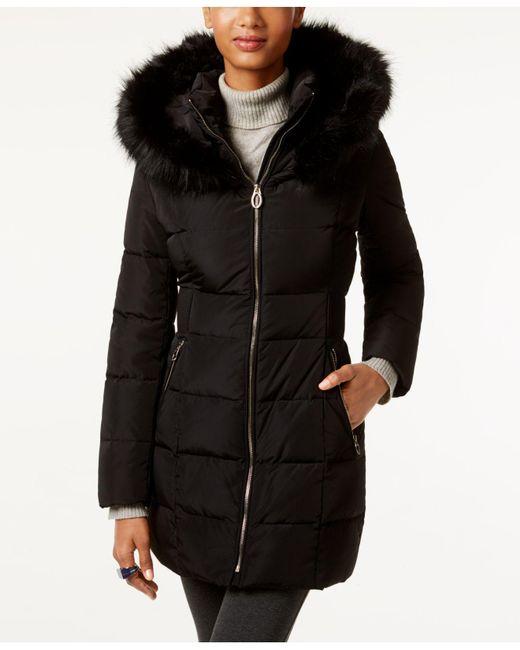 Ivanka Trump | Black Faux-fur Cinched-waist Puffer Coat | Lyst