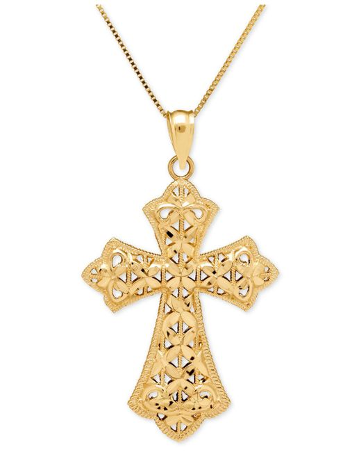 Macy's | Metallic Filigree Cross Pendant Necklace In 14k Gold | Lyst