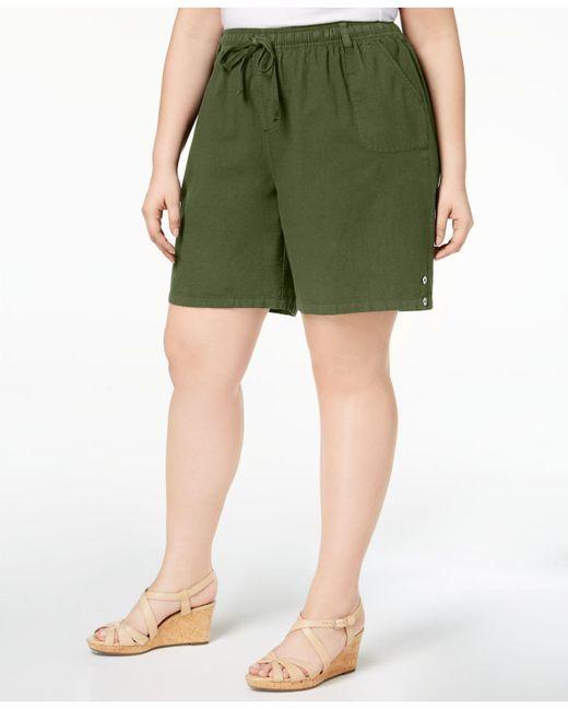 Karen Scott - Green Plus Size Drawstring Cotton Shorts, Created For Macy's - Lyst