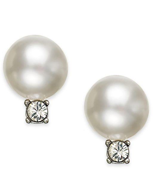 Swarovski | White Earrings, Rhodium-plated Crystal Pearl Drop Earrings Stud Earrings | Lyst