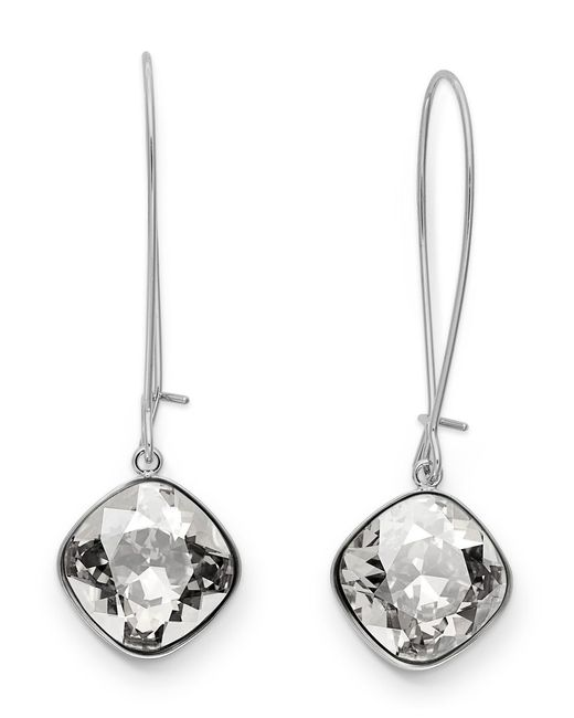 Swarovski | Metallic Earrings, Rhodium-plated Crystal Drop Earrings | Lyst