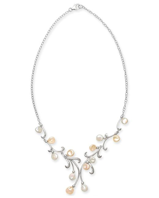 "Macy's - Metallic Cultured White & Pink Keshi Freshwater Pearl (7mm) 17"" Statement Necklace In Sterling Silver - Lyst"