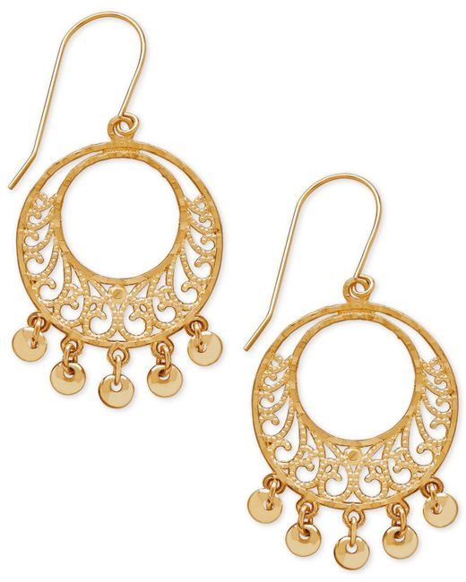 Macy's - Metallic Filigree Dangle Gypsy Hoop Earrings In 10k Gold - Lyst