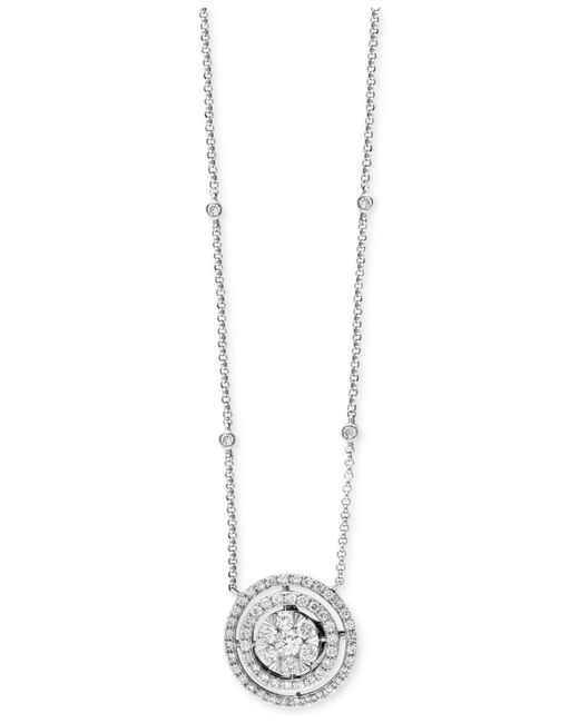 Effy Collection - Diamond Cluster Pendant Necklace (3/4 Ct. T.w.) In 14k White Gold - Lyst