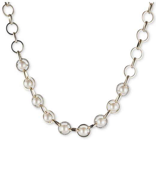 Carolee | White Gold-tone Imitation Pearl & Pavé Collar Necklace | Lyst