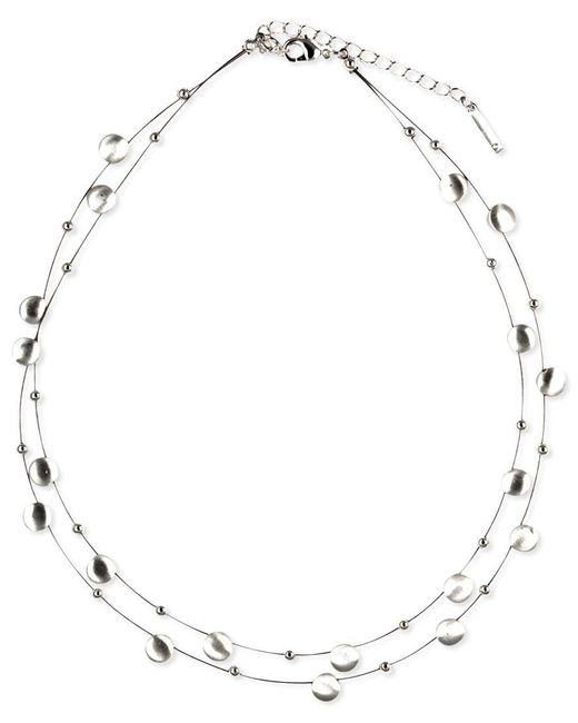 Nine West | Metallic Necklace, Silver-tone Disc Two-row Necklace | Lyst