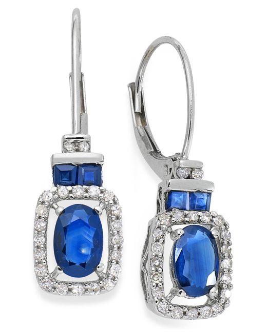 Macy's - 14k White Gold Earrings, Sapphire (1-1/5 Ct. T.w.) And Diamond (1/5 Ct. T.w.) Drop Earrings - Lyst
