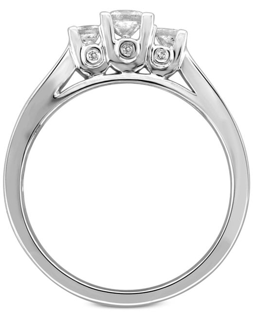 Macy's - Metallic Diamond Princess Trio Engagement Ring (1/2 Ct. T.w.) In 14k White Gold - Lyst