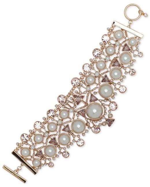 Givenchy - Metallic Crystal, Colored Stone & Imitation Pearl Flex Bracelet - Lyst