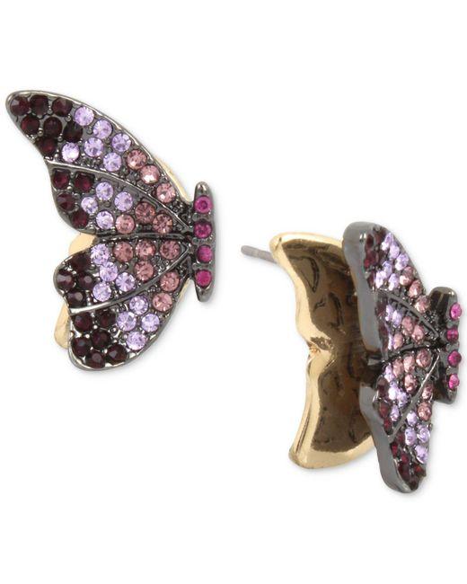 Betsey Johnson | Purple Hematite-tone Pavé Crystal Butterfly Stud Earrings | Lyst
