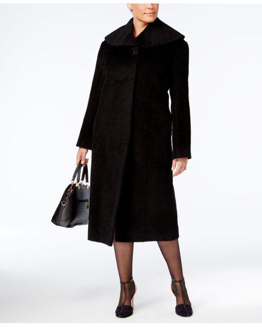 Jones New York | Black Plus Size Textured Maxi Walker Coat | Lyst