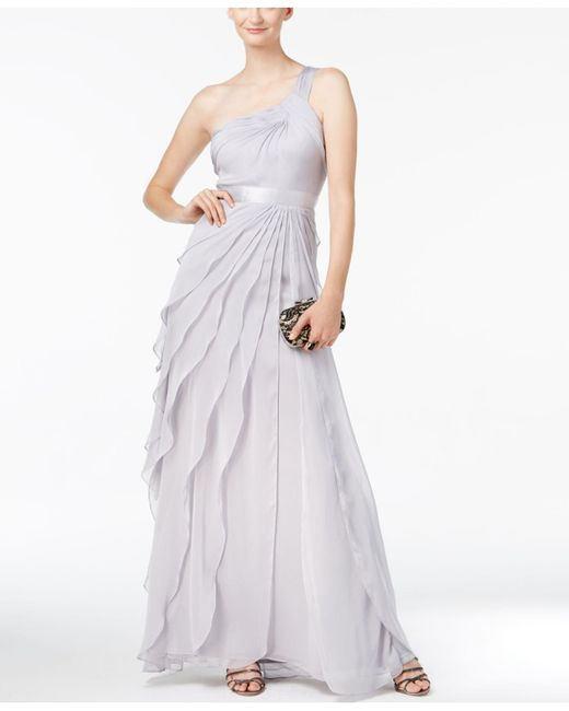 Adrianna Papell | Metallic One-shoulder Tiered Chiffon Gown | Lyst