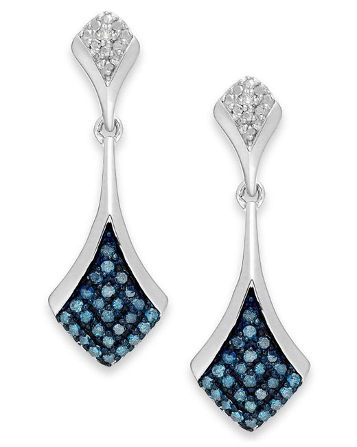 Macy's | 1blue And White Diamond Drop Earrings In Sterling Silver (1/5 Ct. T.w.) | Lyst