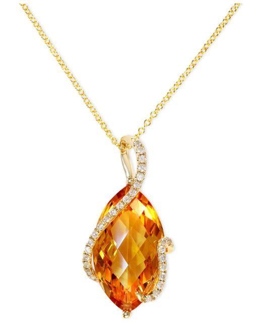 Effy Collection - Metallic Citrine (8-1/2 Ct. T.w.) And Diamond (1/8 Ct. T.w.) Marquise Wrap Pendant In 14k Gold - Lyst